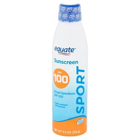 (2 pack) Equate Sport Broad Spectrum Sunscreen Spray, SPF 100, 5.5 oz