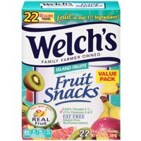 (2 Pack) Welch's Fruit Snacks, Island Fruits, 0.9 Oz, 22 Ct
