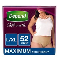 Depend Silhouette Incontinence Underwear for Women, Maximum Absorbency, L/XL, 52 Ct