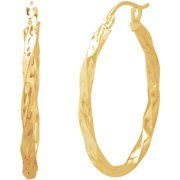 10KT Gold Diamond-Cut Square Twist Earrings
