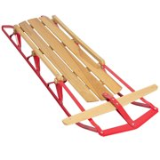 Best Choice Products 53in Kids Wooden Winter Snow Sled Sleigh Toboggan for Outdoor Play w/ Metal Runners, Flexible Steering Bar, 220lb Capacity