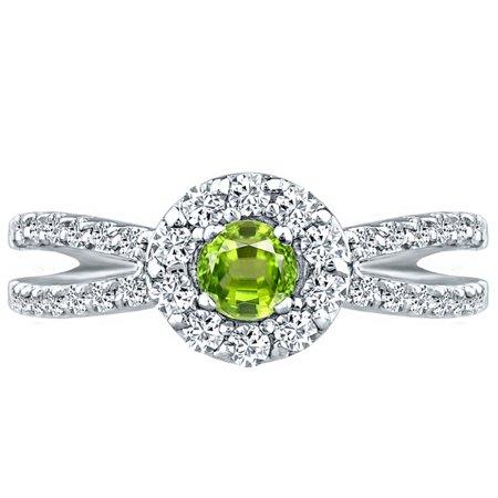 Round Peridot & Diamond Split Shank Halo Engagement Ring 10k White Gold 1.01 ct