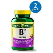 (2 Pack) Spring Valley Vitamin B12 Tablets, 2500 mcg, 120 Ct