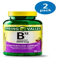 (2 Pack) Spring Valley Vitamin B12 Tablets, 2500 mcg, 120 Ct