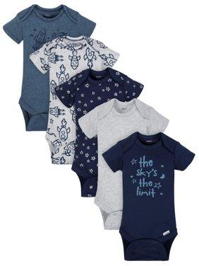 Gerber Organic Cotton Short Sleeve Onesies Bodysuits, 5pk (Baby Boy)
