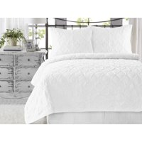 Wavy S Ruffled Cotton 2-Piece Twin/Twin XL Size White Quilt Set, Handcrafted Quilted Bedspreads, Bright White