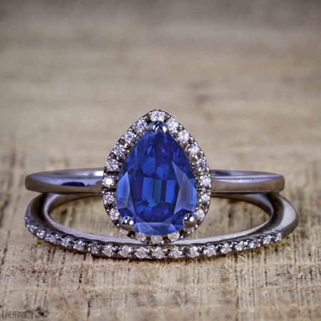 Unique 2 Carat Pear cut Real Sapphire and Cubic Halo Wedding Ring Set for Her in Silver with Black Gold Plating](Unique Wedding)