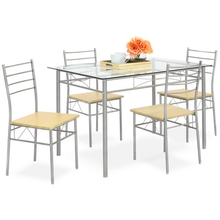 Best Choice Products 5-Piece Glass Top Dining Table Breakfast Set Furniture for Kitchen, Dining Room w/ 4 Chairs, Steel Frame - Silver ()