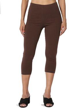 TheMogan Women's S~3X Cotton Jersey High Waist Mid Calf Length Capri Leggings