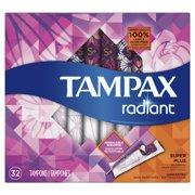 Tampax Radiant Super Plus Plastic Tampons, Unscented, 32 Count