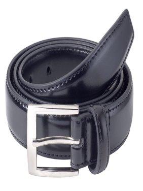 Sportoli Mens Classic Stitched Genuine Leather Uniform Belt - Black, Brown, White, Tan, & Navy