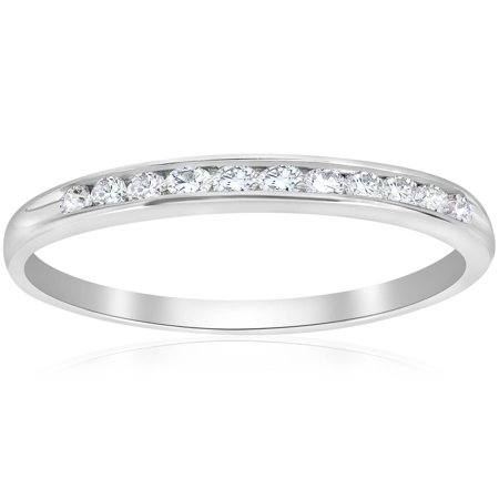 Pompeii3 1/4ct Diamond 14k White Gold Wedding Stackable Ring Womens Channel Set - Bar Channel Diamond Band