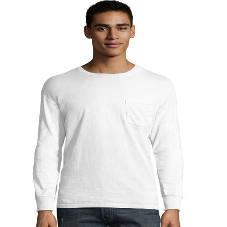 Hanes Dyed Pocket (Hanes Mens ComfortWash Garment Dyed Long Sleeve Pocket Tee, L, Freshwater )