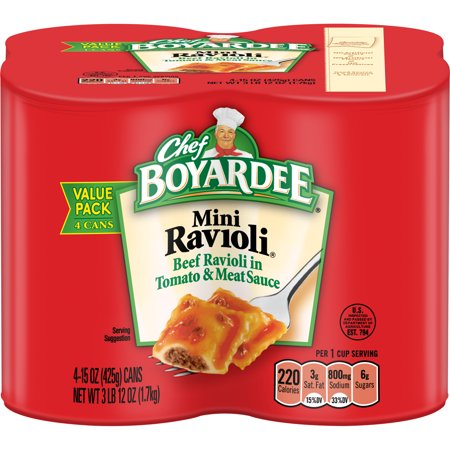 (3 Pack) Chef Boyardee Mini Ravioli, 15 oz, 4 Pack - Halloween Food Entrees