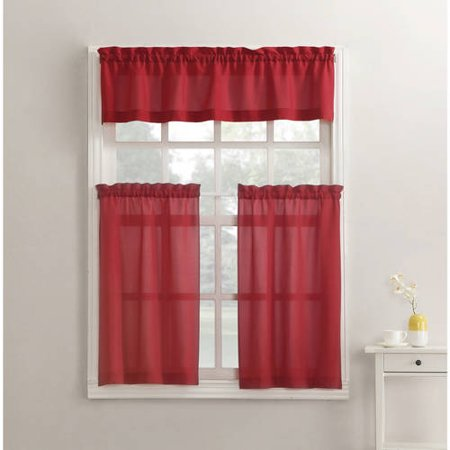 Mainstays Solid 3-Piece Kitchen Curtain Tier and Valance Set