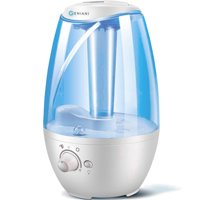 GENIANI Humidifiers - 4L Ultrasonic Cool Mist Humidifier for Bedroom / Home with Night Light - Best Whole House Vaporizer - Large Water Tank - Auto Shut Off & Filter-Free - Gift Box