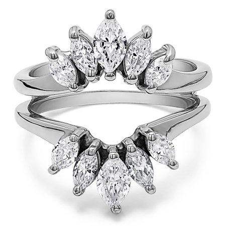Cubic Zirconia Mounted In Sterling Silver Marquise Ring Guard Enhancer For Pear Shaped Solitaire