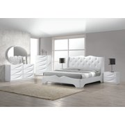 Modern Madrid 4 Piece Bedroom Set Eastern King Size Bed Leather Like Exterior Mirror Dresser Nightstand