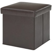 Mainstays Ultra Collapsible Storage Ottoman, Brown Faux Leather