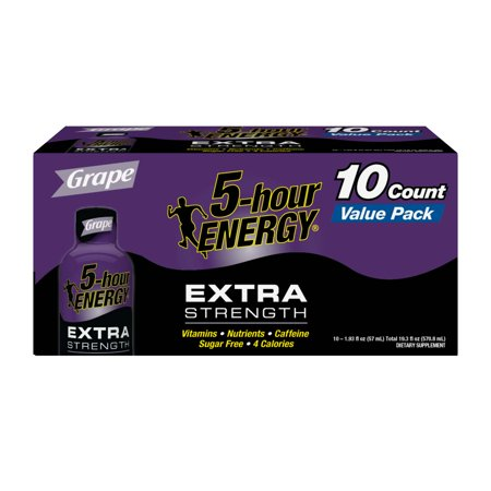 5-Hour Energy Extra Strength Energy Shot, Grape, 1.93 Fl Oz, 10 Ct