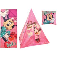 Disney Minnie Mouse Teepee Play Tent and Slumber Bag with Bonus Pillow