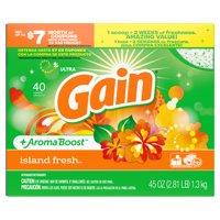 Gain Ultra + AromaBoost Powder Laundry Detergent, Island Fresh, 40 loads, 45 oz
