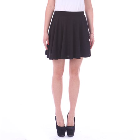 Lauren Pleats Skirt (HDE Women's Jersey Knit Flare A Line Pleated Circle Skater Skirt (Black, Small) )
