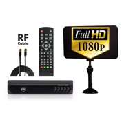 Digital Converter Box + Flat Antenna + RF Cord for Recording & Watching Full HD Digital Channels for FREE (Instant & Scheduled Recording, DVR, 1080P, HDMI Output, 7 Day Program Guide & LCD Screen)