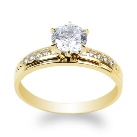 JamesJenny 10K Yellow Gold 1.0ct Clear CZ Fancy Engagement Solitaire Ring Size 4-10