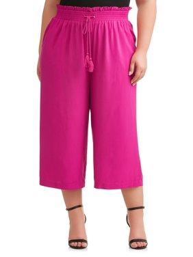 Women's Plus Wide Leg Cropped Pant