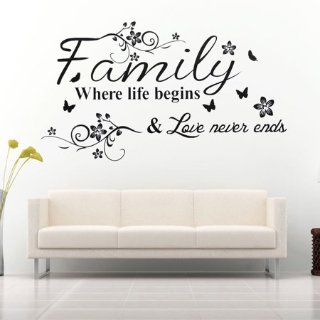 Family Where Life Begins Decal Mural Wall Sticker DIY Art Quote Words Home Decor ()