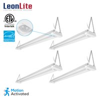 LEONLITE 4 Pack 4ft Linkable LED Motion Activated Utility Shop Light, 40W (120W Equiv.) LED Ceiling Fixture, 4100lm, 5000K Daylight, for Garage/Basement/Workshop