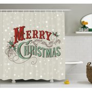 Christmas Shower Curtain Xmas Stars And Snowflakes Backdrop With Stylized Retro Lettering Fabric Bathroom