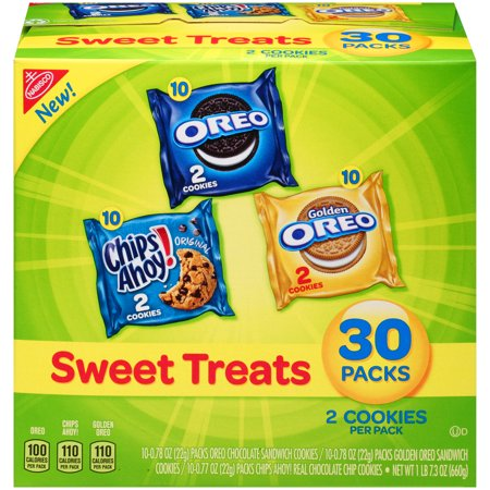 Nabisco Oreo, Chips Ahoy!, & Golden Oreo Sweet Treats Variety Cookie Pack, 23.3 Oz., 30 Count Chocolate Semi Sweet Cookies