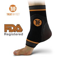 Best Copper Infused Compression Ankle Brace, Silicone Ankle Support w/ Anti-Microbial Copper. Plantar Fasciitis, Foot, & Achilles Tendon Pain Relief. Prevent and Support Ankle Injuries & Soreness - M
