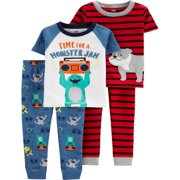 Short Sleeve Cotton Tight Fit Pajamas, 4pc Set (toddler boys)