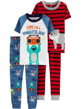 Short Sleeve T-Shirt and Pant Cotton Pajama Bundle, 2 sets (Toddler Boys)