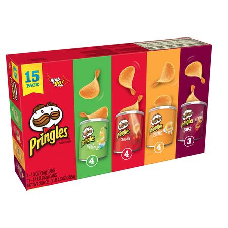 Pringles Grab & Go Stack Potato Crisps Variety Pack, 20.6 Oz., 15 - Crispy Chips