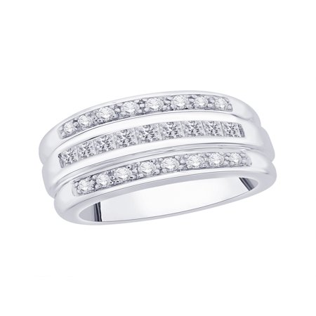 Three Row Round and Princess Cut Diamond Wedding Band in Sterling Silver (3/4 cttw) (I-Color, SI3/I1-Clarity) (Size-10.5)