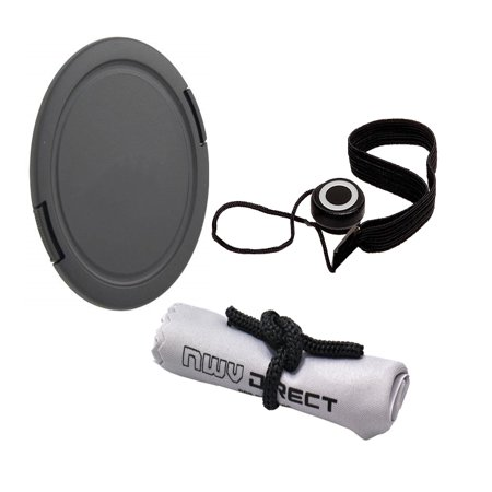 Lens Cap Side Pinch (43mm) + Lens Cap Holder + Nwv Direct Microfiber Cleaning Cloth For Canon EF-M 22mm f/2 STM