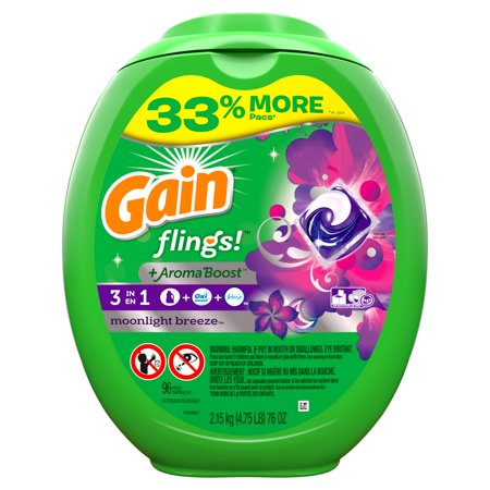 Gain flings! Liquid Laundry Detergent Pacs, Moonlight Breeze, 96