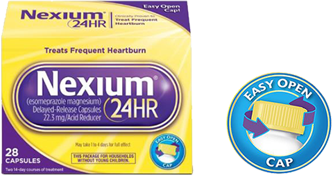 Nexium 24HR Capsules (20mg, 28 Ct.) Delayed Release Heartburn Relief, Esomeprazole Magnesium Acid