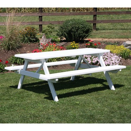 A & L Furniture Yellow Pine Picnic Table with Attached Benches ()