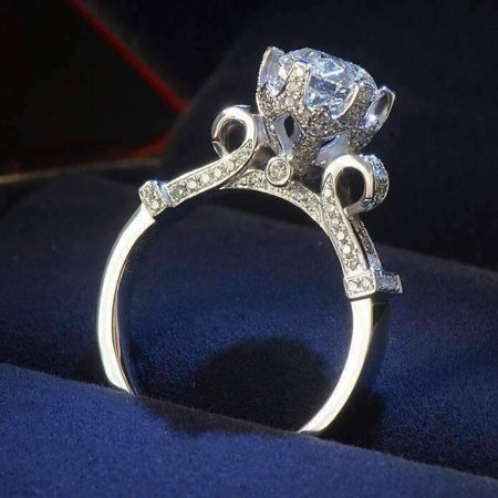 Cubic Zirconia Solitaire Ring - ON SALE - Extravagant Crown Set CZ Solitaire Engagement Ring 7