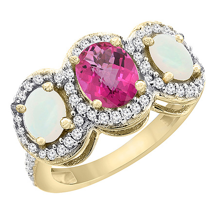 - 14K Yellow Gold Natural Pink Sapphire & Opal 3-Stone Ring Oval Diamond Accent, size 5