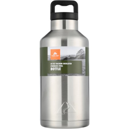 Folding Thermos Stainless Steel Bottle (Ozark Trail 64oz Double Wall Stainless Steel Water Bottle )
