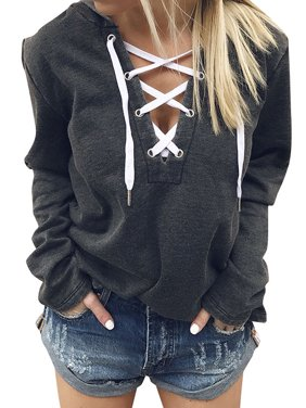 ZXZY Women V Neck Lace Up Long Sleeve Hoodie Top