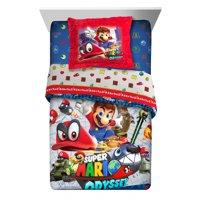 Nintendo Super Mario Odyssey Fun Kids Twin or Full Comforter with Sham Set, 2 Piece