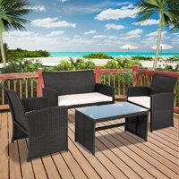 Best Choice Products 4-Piece Wicker Patio Furniture Set w/ Tempered Glass, 3 Sofas, Table, Cushioned Seats - Black