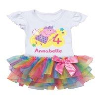 Peppa Pig Birthday Fairy Personalized Rainbow Toddler Girl Tutu Tee